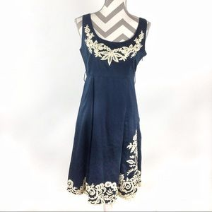 Viola Anthropologie navy blue and white lace dress